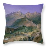 The Great Wall Of China Throw Pillow by William Simpson