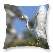 The Great White Egret Throw Pillow