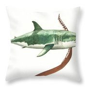 The Great White Shark And The Octopus Throw Pillow
