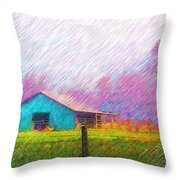The Green Barn Throw Pillow