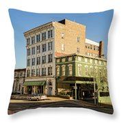 The Green Building On The Corner Throw Pillow