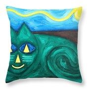 The Green Cat Throw Pillow