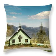 The Green Church Throw Pillow