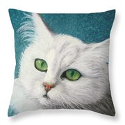 The Green Eyed Vamp Throw Pillow