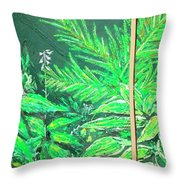 The Green Flower Garden Throw Pillow by Darren Cannell