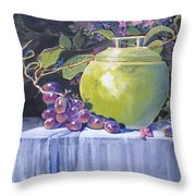 The Green Pot And Grapes Throw Pillow