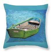 The Green Rowboat Throw Pillow