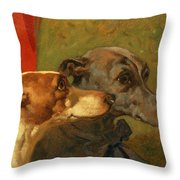 The Greyhounds Charley And Jimmy In An Interior Throw Pillow