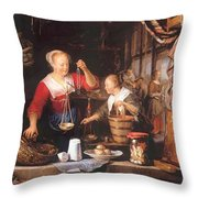 The Grocery Shop 1672 Throw Pillow