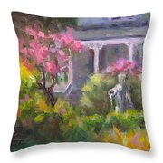 The Guardian - Plein Air Lilac Garden Throw Pillow by Talya Johnson
