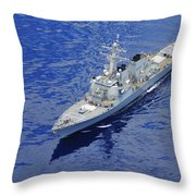 the guided-missile destroyer USS Okane Throw Pillow