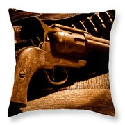 The Gun That Won The West - Sepia Throw Pillow