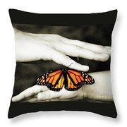 The Hands And The Butterfly Throw Pillow