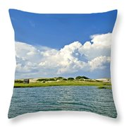 The Handys Camp On Sandy Neck Throw Pillow