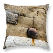 The Hanging Jar - Rough Weathered Stones Rust And Ceramics - A Vertical View Throw Pillow