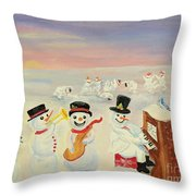 The Happy Snowman Band Throw Pillow