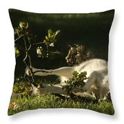 The Happy Wolf Throw Pillow