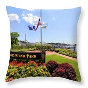 The Harbor Island Park In Mamarineck, Westchester County Throw Pillow