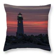 The Harbor Light At Dawn Throw Pillow