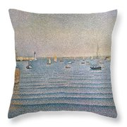 The Harbour At Portrieux Throw Pillow