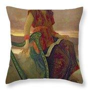 The Harpist Throw Pillow by Antoine Auguste Ernest Herbert