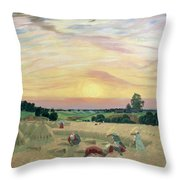 The Harvest Throw Pillow by Boris Mikhailovich Kustodiev