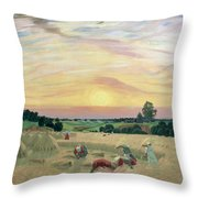 The Harvest Throw Pillow by Boris Mikhailovich Kustodiev