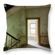 The Haunted Staircase - Abandoned Building Throw Pillow