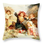 The Haymakers Throw Pillow by Frederick Morgan