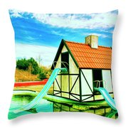 The Hazmat Water Park Throw Pillow