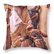 The Healing Of The Leper Throw Pillow