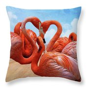 The Heart Of The Flamingos Throw Pillow