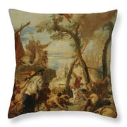 The Hebrews Gathering Manna In The Desert  Throw Pillow