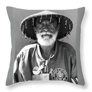 The Hero In Black And White Throw Pillow