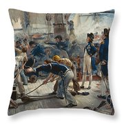 The Hero Of Trafalgar Throw Pillow by William Heysham Overend