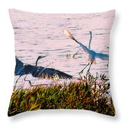 The Heron And The Egret Throw Pillow