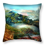 The Highkingdom Of Loch Lein Aka Hesperidean Avalon Throw Pillow