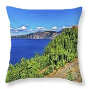 The Hills Of Crater Lake Oregon Throw Pillow