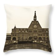 The Historic Crrnj Train Terminal Throw Pillow