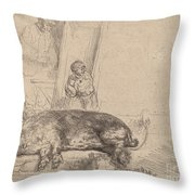 The Hog Throw Pillow
