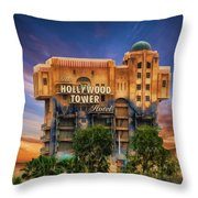 The Hollywood Tower Hotel Disneyland Throw Pillow