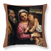 The Holy Family , Annibale Carracci Throw Pillow