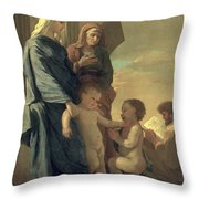 The Holy Family Throw Pillow by Nicolas Poussin