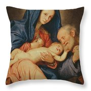 The Holy Family With A Basket  Throw Pillow