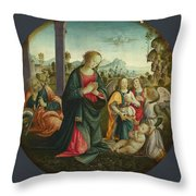 The Holy Family With Angels Throw Pillow