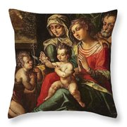 The Holy Family With Saint Anne And Saint John Throw Pillow
