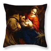 The Holy Family With Saint Francis Throw Pillow