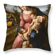 The Holy Family With The Infant Saint John The Baptist Throw Pillow