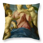 The Holy Family With The Infant Saint John The Baptist, Madonna Stroganoff  Throw Pillow