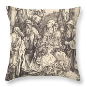 The Holy Family With Two Music-making Angels Throw Pillow
